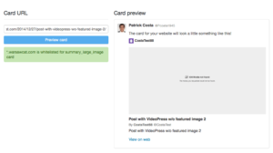 VideoPress failure to verfiy as Twitter Player Card
