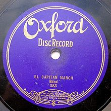 1906 El Capitan March. 7in. disc. Probably made by Columbia