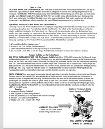 Worksheets Russian Revolution Worksheet world history ii russian revolution worksheet patcosta com page 2